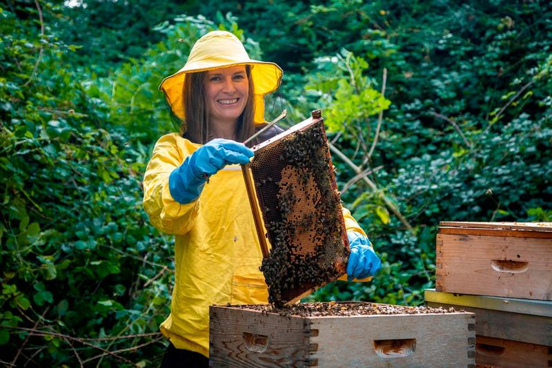 DCU PhD student Saorla Kavanagh, who led the study, with some heather honey